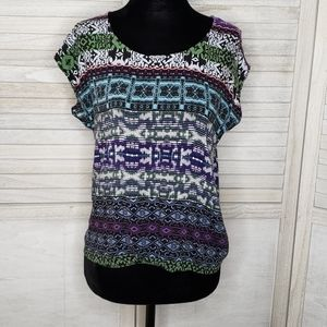CAbi Colorful Short Sleeve Shirt XS Patterned Top